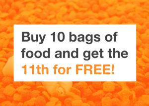 Buy 10 bags of food and get the 11th for FREE!(similar size bags only)